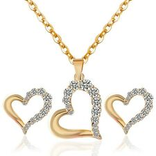 Jewelry Sets Rhinestone Gold Plated Heart Shape Stud Earrings Pendant Necklace