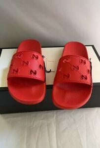 Gucci Red Rubber Gg Slide Sandal Flats Size: US 7.5 Regular (M, B)