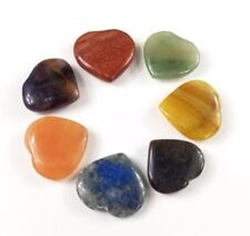7 Chakra Heart Worry Stone Set Pranic Healing Meditation Lot Natural Crystal