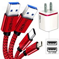 3 PACK [MIcro USB + Type C + Wall Charger]  USB Data Sync Braided Charging Cable