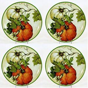 "Pier 1 Imports HARVEST GARDEN 9"" Salad Plate Set 4Pc Pumpkins Susan Winget"