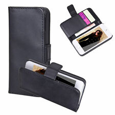 Black PU Leather Flip Wallet Pouch Card Cover Stand Case For iPhone 5 5s