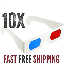 10 X 3-D paper glasses red cyan / blue anaglyph movie game SHIPS FREE FROM US