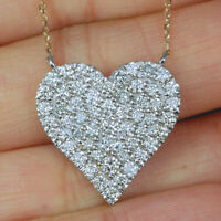 Women's Round Cut Diamond Cluster Heart Pendant Necklace 14K White Gold Finish