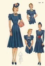 Vintage 1940's Sewing Pattern Tea Dress & Accessory Set WWII Wartime Bust 30""