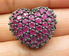925 Silver - Vintage Ruby Topaz Accented Love Heart Slide Pendant - P6356