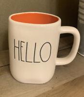Rae Dunn - HELLO - White Ceramic Coffee Mug - Orange Interior