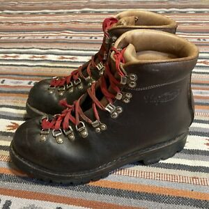 Vintage Vasque Mountaineer Hiking Boots Italy 7505 Leather 10.5 Mountaineering