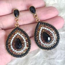 Vintage Womens Boho Black Beads Clear Rhinestones Dangle Drop Pierced Earrings