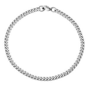 Silver Stainless Steel Curb Cuban Link Chain Bracelet Unisex Women Men 7-11inch