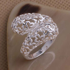CURVY STATEMENT RING, Silver Plated Thumb/Wrap ADJUSTABLE Filigree Gift