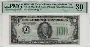 1934 $100 FEDERAL RESERVE STAR NOTE KANSAS CITY FR.2152-Jdgs* PMG VERY FINE 30
