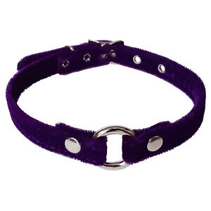 Funk Plus Purple Fuzzy Velvet Metal O Ring Bondage Collar Gothic Goth Punk 80s