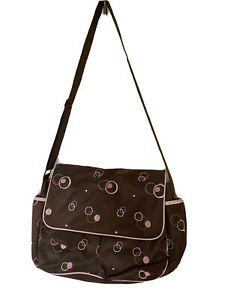 GEORGE Messenger Diaper Bag  Brown with Embroidered Circles