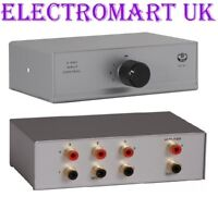 3 WAY PHONO RCA STEREO AUDIO INPUT SELECTOR SWITCH BOX