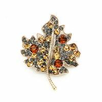 Women's Crystal Rhinestone Maple Leaf Charm Betsey Johnson Brooch Pin Xmas Gift