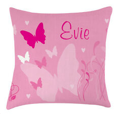 Personalised Butterflies childrens pink pretty name cushion