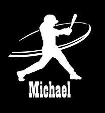 Custom personalised name baseball player sticker vinyl decal car window bumper