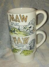 Vintage MAW & PAW Stacking Coffee Mugs Yer Coffee's Ready