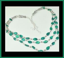NEW - TRIPLE ROW GREEN MALACHITE ANTIQUE SILVER NECKLACE