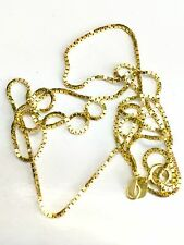 """Brand New 14K Yellow Gold Square Box Chain Necklace 1.60 grams 16"""" Long"""