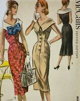 1950s Mccall  Vintage Sewing Pattern 3646 Dress Bust 30