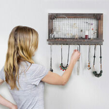 Hanging Rustic Wood Jewelry Organizer Holder with Hooks Shelf Wall Mounted