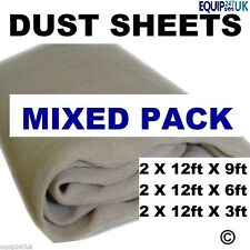 6 x MIXED HD COTTON TWILL DUST SHEETS 100% DURABLE COTTON TWILL