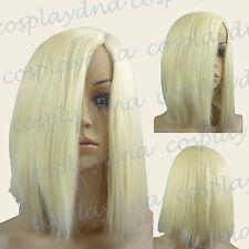 14 inch Hi_Temp Light Golden Blonde Medium Bangless Cosplay DNA Wigs 97LGB