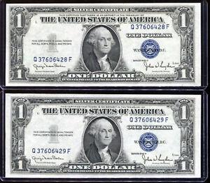 (2) 1935-D $1 Silver Certificates Wide / Narrow Changeover Set QF Block Unc