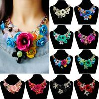 Floral Chain Crystal Statement Bib Big Chunky Necklace Collar Jewelry Women
