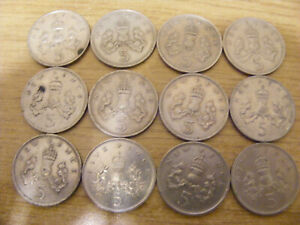 A Collection of 12 x Large 5p Coins - all nice used condition Dates 1969 - 1988