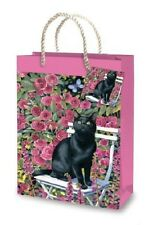 Rose Garden Black Cat pink gift bag with matching gift tag and rope handles