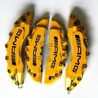 "Engineering Plastic AMG Brake Caliper Covers Yellow 11""F 9""R Fit Universal Car"