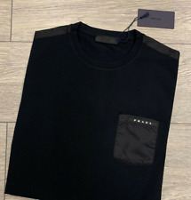 Prada Shirt New Collection Men Black Short Sleeve Cotton Stretch 100% Authentic