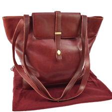 Auth CARTIER Must De Cartier Shoulder Tote Bag Bordeaux Leather Vintage S06770