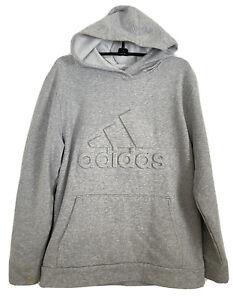 Adidas Hoodie Sweatshirt Gray Logo Boys Youth Size XL 18 20