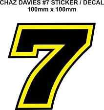 Chaz Davies número 7 Calcomanía Adhesivo (100mm X 100mm)