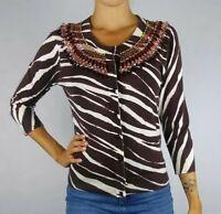 Kate Spade Small S Cotton 3/4 Sleeve Zebra Print Embellished Cardigan Sweater