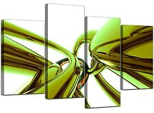 Large Lime Green Abstract Canvas Wall Art Pictures 130cm Set XL 4035