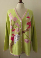 NWT Womens STORYBOOK KNITS Pink & Green Fairy Flower Cardigan Sweater ~ Size 2X