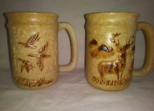 2 Pottery Craft USA Coffee Mugs Large Duck Deer Duck Vintage Stoneware 16 oz