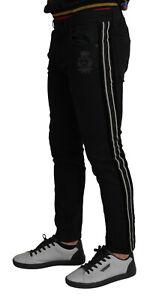 DOLCE & GABBANA Jeans Black Contrasting Side Band Skinny Denim IT50/W36/L $1300