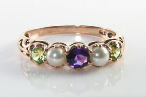 9K 9CT ROSE GOLD SUFFRAGETTE AMETHYST PERIDOT PEARL ETERNITY ART DECO INS RING