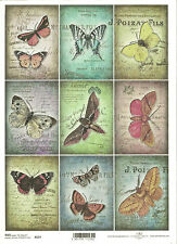 Rice Paper for Decoupage Scrapbooking, Vintage Toppers Butterflies A4 ITD R537