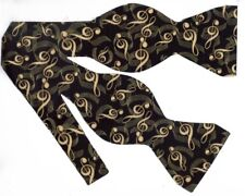 Music Bow tie / Black & Gold / Treble Clefs / Metallic Gold / Self-tie Bow tie