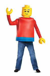Lego Guy Classic Boys Costume Kids Legoman Minifigure Fancy Dress Size S - L
