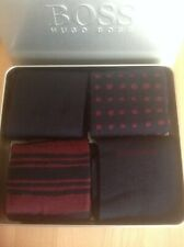 BRAND NEW HUGO BOSS 4 X PAIRS MENS BLUE & BURGANDY SOCKS IN A TIN GIFT SET 6-11