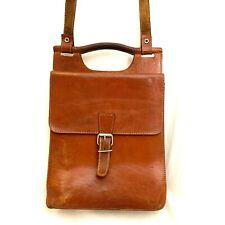 Vintage Leather Satchel Handbag School Boho Hippie Student Arts Utility
