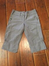 Anthropologie +4 Plus Four Gray Pin Striped Cropped Pants 4 NWT